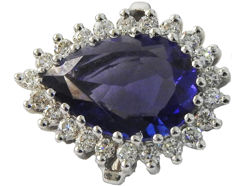 Golden Cluster Tanzanite Pear and Diamond Ring