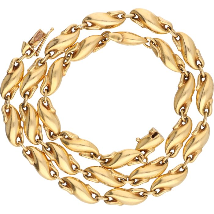 18 kt yellow gold fantasy link necklace – 39.3 cm