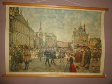 """Old school poster """"the Dam in Amsterdam, 1666"""""""