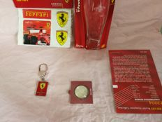 Ferrari, Collection, Historical Lot World Champion, 2001, 2004  e 1952, Limited Edition, Silver 925, Piu' Set 3 Pin'S Ferrari Limited Edition Enamelled in fire and Great flag of Ferrari Club