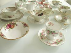 Collection of ten English and nine German cups and saucers and a bonbon dish by Royal Albert