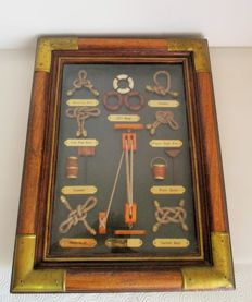 Gorgeous picture frame in wood with brass/copper finishings with nautical knots and marine equipment