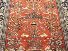 Persian GHOM with - animals and environment pattern - approx. 200 x 153 cm - Very good condition.