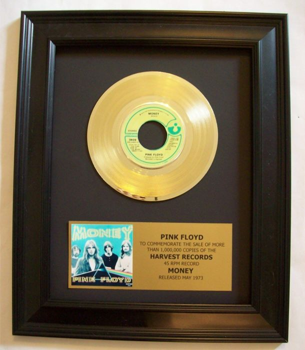 Pink Floyd - Money single 24k Gold plated, Golden record