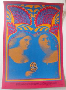 """The Chambers Brothers / Iron Butterfly Family Dog Poster San Francisco 1967 """"Bobbsey Twins"""" Victor Moscoso"""