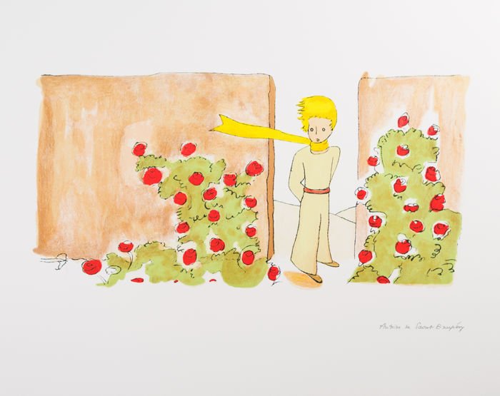 Antoine de Saint-Exupéry (after) - Le Petit Prince dans le jardin des roses (The Little Prince in The Garden)