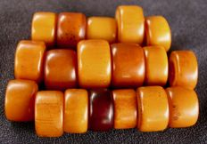 18 big, antique beads - phenolic resin - North Africa - early 20th century