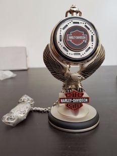 """Harley Davidson """"Heritage Softail"""" collectors pocket watch on stand - Franklin Mint"""