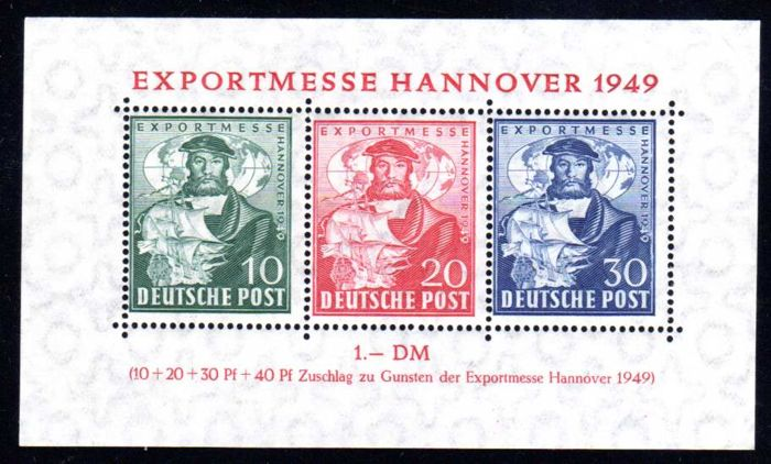 Allied occupation - export fair Hannover 1949 - 2x block issue, Michel block 1