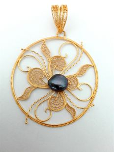 19.25kt 800 gold pendant – Hand-crafted Portuguese filigree