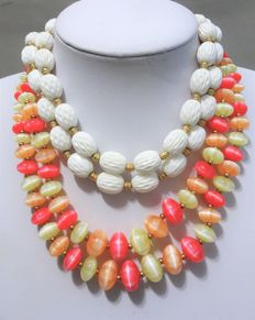 Signed LISNER and TRIFARI  - Two  Beaded Necklaces, Double Strand Lucite - 1960s