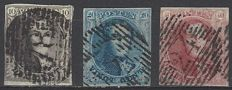 Belgium - Leopold I type 'Medallion' with watermark in frame - OBP Nos. 3 to 5