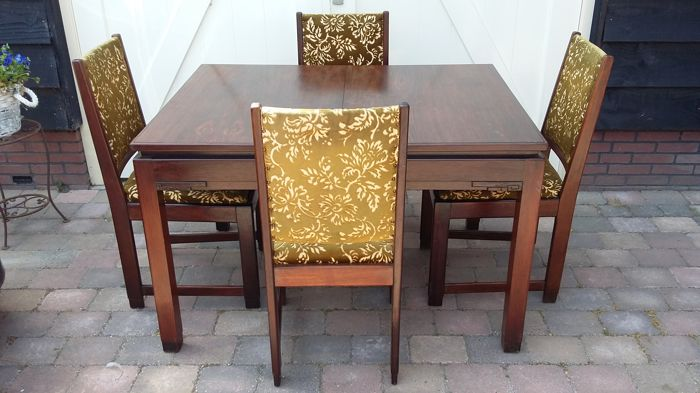 Art Deco Stoel : Art deco table with chairs amsterdam school style catawiki