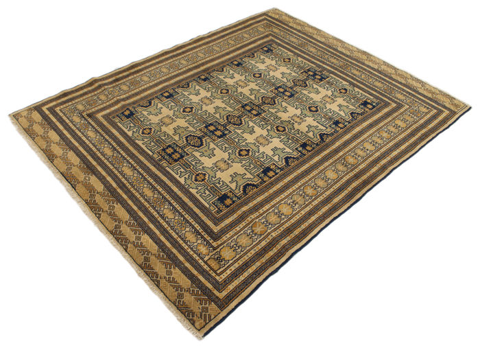 (Size: 142 x 184 cm) Authentic Persian rug, Original Turkmen (HAND-KNOTTED) – Persia/Iran – 1940-1950 – With certificate of authenticity from an official appraiser – (Galleria Farah 1970)