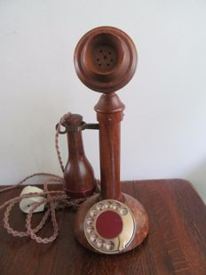 Vintage, working wooden phone, Belgium, 1960s