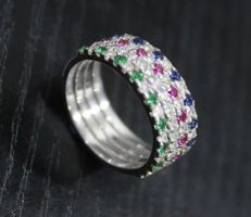 1.48 ct set of 4 diamond, ruby, blue sapphire and emerald band rings made of 14 k white gold - 55 (EU)