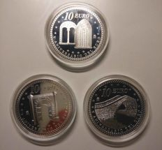 SPAIN – Juan Carlos I – 10 EURO – Series 2007 V Anniversary of the Euro – FNMT (3 coins)
