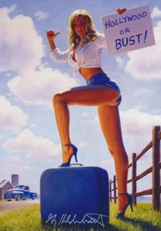 Art print; Greg Hildebrandt - Blonde, White, and Blue - 2017