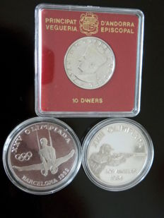 Andorra – 10 Diners 1984 , 20 Diners 1984 and 1988 – Limited Editions – Silver