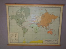 "Old school poster / world map on linen by W. Bakker, H. Rusch, ""Continents"""