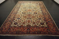 Magnificent hand-knotted old Art Nouveau Persian carpet, Tabriz with patina, rug, 220 x 320 cm, made in Iran
