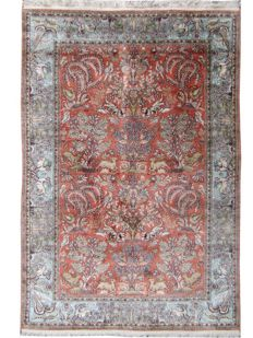 Verry pretty Eastern Kashmir carpet in silk - handmade - 124 x 192 cm.