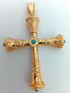 19.25kt 800 gold crucifix. Hand-crafted and set with turquoise stones