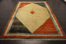 Hand-knotted Persian carpet, Qashqai, Gabbeh, nomad's work, rug, wool on wool, made in Iran, 200 x 260 cm