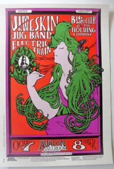 "Janis Joplin Big Brother & the Holding Company San Francisco Family Dog poster ""The Woman with the Green Hair"" Stanley Mouse 1966"