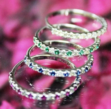 1.48 ct set of 4 diamond, ruby, blue sapphire and emerald band rings made of 14 k white gold - 55 (EU) - no reserve price