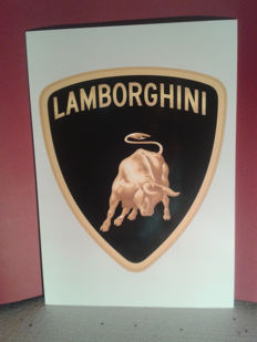 "From the series: ""excellent car brands"". LAMBORGHINI logo in large format. LAMBORGHINI Advertisement."
