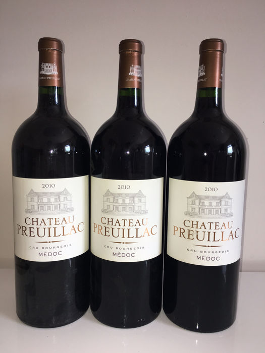 2010 Chateau Preuillac Medoc Cru Bourgois ' 3 magnums 1,5 litres .