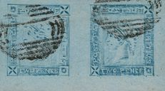 Mauritius – Yvert No. 8b 2 pence, Lapriot blue known as 'dog head' in pair, cancelled, signed JF Brun