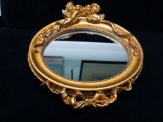Gold-coloured mirror with cherubs - second half of the 20th century - France