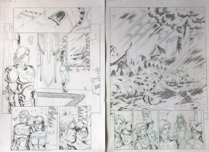 Randy Valiente - 2 Original Art Pages - Zenescope - Grimm Fairy Tales #62 - Pages 6+7 - (2011)