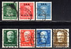 German Empire – 1927 – Hindenburg anniversary and IAA exhibition, two sets, Michel 403-409