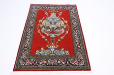 Fine Persian carpet, Qom, cork wool, 1.55 x 1.08, red hand-knotted oriental carpet from Iran, great condition