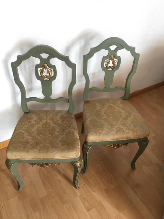Pair of chairs. Polychromed with gilt motifs. Early 20th century