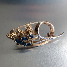 Gold,  Sapphire and Diamond Brooch