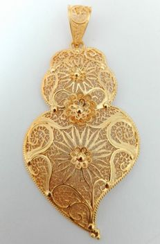 19.25kt 800 gold heart – Hand-crafted Portuguese filigree – 9.2g