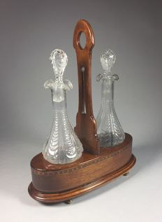 Mahogany oil and vinegar set with glass bottles - England - ca. 1900