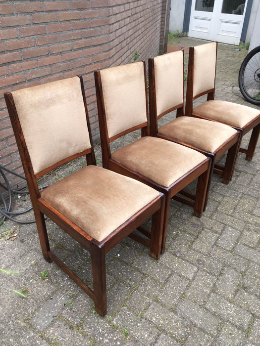 Set Of 4 Rosewood And Coromandel Art Deco Dining Chairs Catawiki