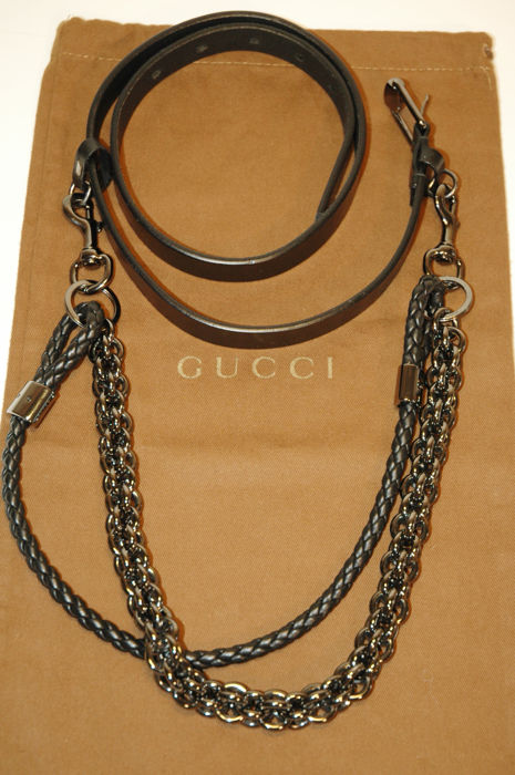 Gucci – belt with metal chain and leather
