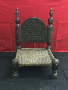 Inlaid wooden chair with braided leather seat - Swat, Pakistan / Afghanistan - Late 19th century