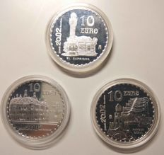 SPAIN – Juan Carlos I – 2002 Complete Series International Year GAUDI – 10 EURO – FNMT (3 coins)