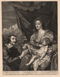 Anthony van Dyck ( 1599 - 1641) - Virgin and Child, adored by Abbe Cesare Alessandro Scaglia - Etched  by Conraad Waumans (1619 - 1675) - Around 1640
