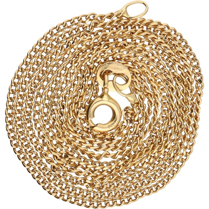 18 kt Yellow gold curb link necklace - Length: 59 cm