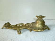 Bronze or brass inkwell, embellished with a little bird.