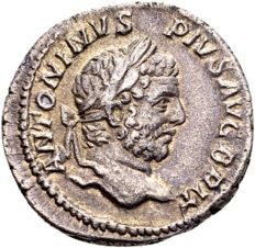 Roman Empire – Caracalla 198–217 A.D., silver denarius struck in Rome 210-213 A.D.