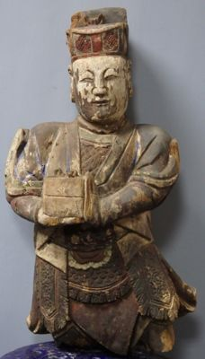 """Extra large """"Guan Ping"""" wood figurine with original lacquer paint - China - early 19th century"""